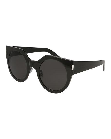 Saint Laurent Slim Acetate Round Sunglasses, Black