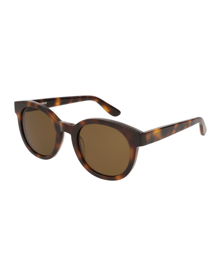 Round Monochromatic Sunglasses, Brown Pattern