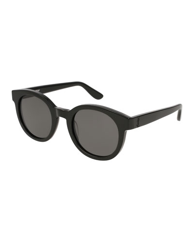 Round Monochromatic Sunglasses, Black Pattern
