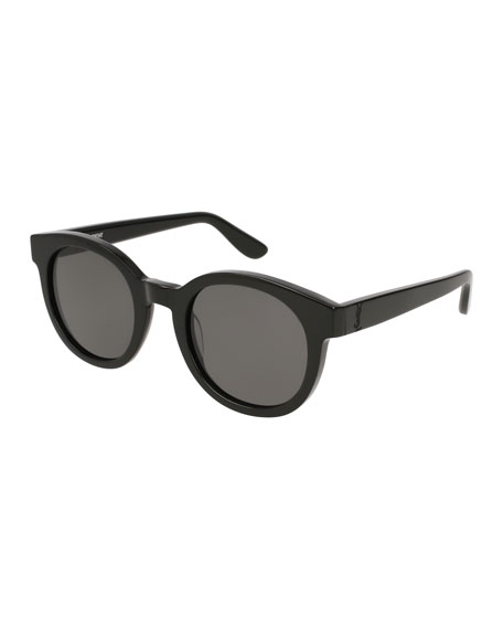 Round Monochromatic Sunglasses, Black Pattern