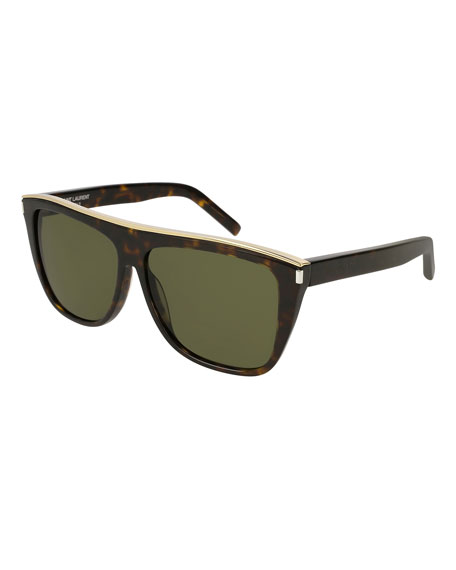 Saint Laurent Flat-Top Rectangle Sunglasses