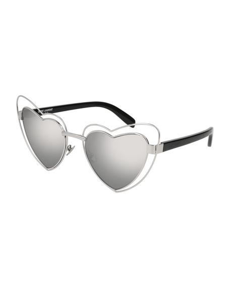 Lou Lou Heart-Shaped Sunglasses, Silver
