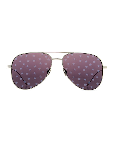 cf1cbf34d9a Saint Laurent Metal Aviator Star-Lens Sunglasses