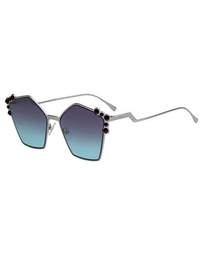 Studded Oversized Geometric Sunglasses