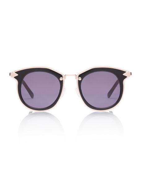 Bounty Two-Tone Round Sunglasses, Black