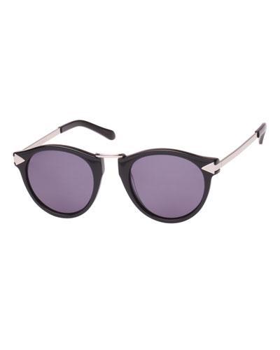 Helter Skelter Monochromatic Round Sunglasses