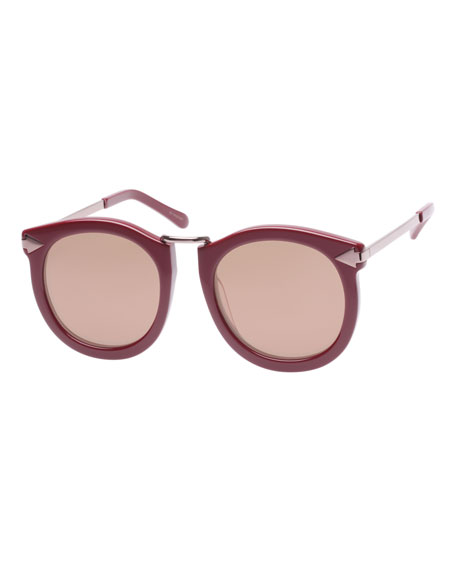 Super Lunar Round Mirrored Sunglasses, Red Pattern