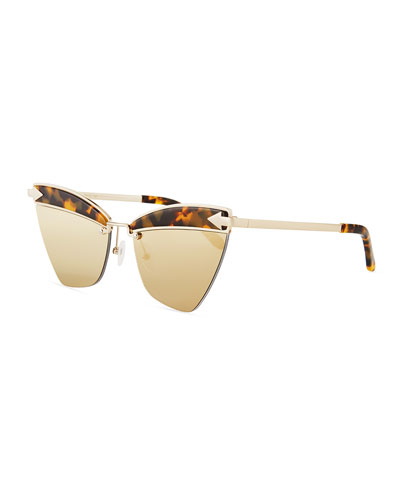 Sadie Cat-Eye Mirrored Geo Sunglasses, Brown Pattern