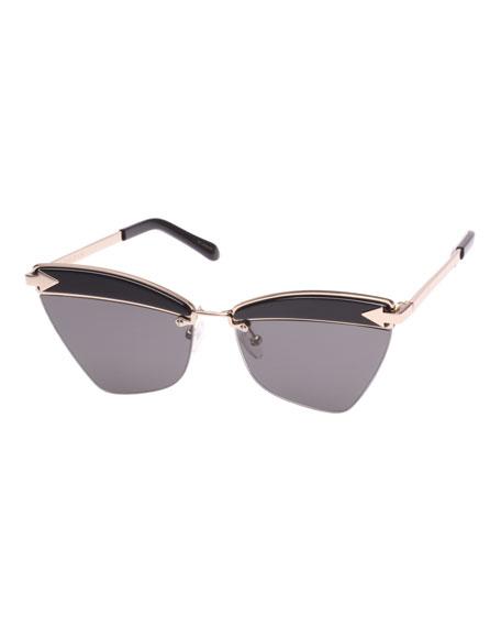 Sadie Cat-Eye Acetate And Gold-Tone Sunglasses, Black Pattern