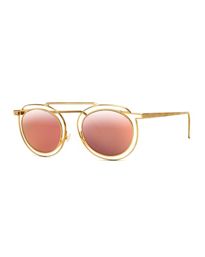 Potentially Cutout Round Sunglasses  Pink