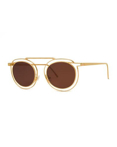 Potentially Cutout Round Sunglasses  Yellow