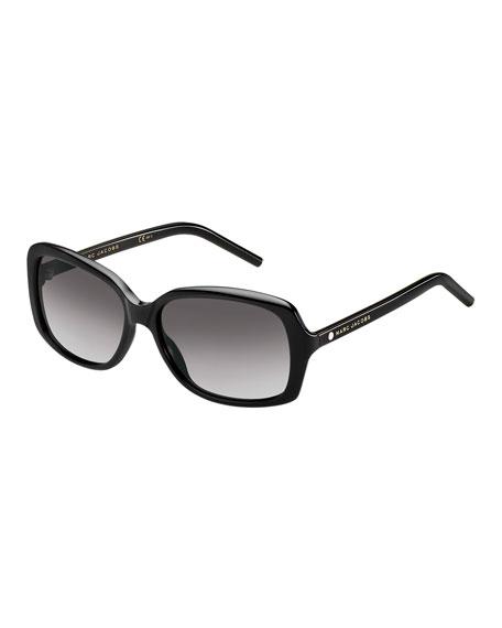 Marc Jacobs Rectangular Gradient Sunglasses, Black