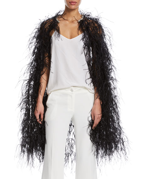 Feather-Embellished Tulle Cape