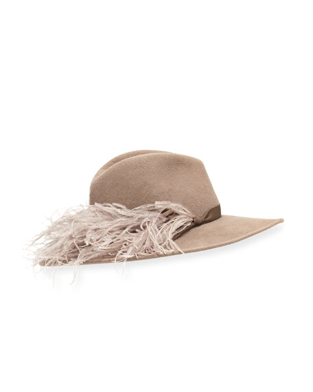 Jeanne Felt Fedora Hat w/ Feather Trim