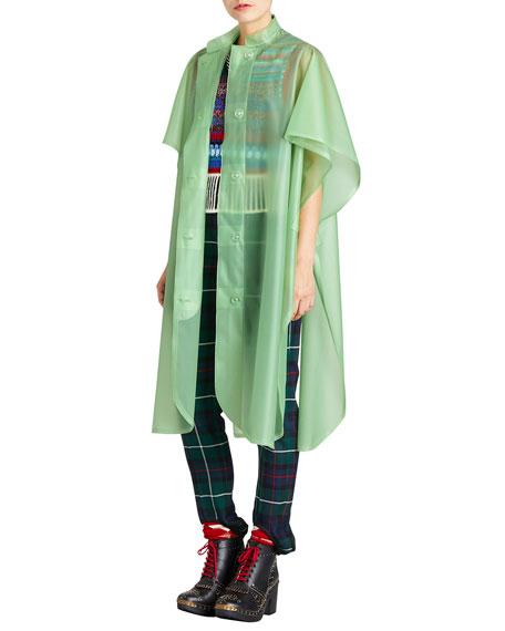 Mandarin-Collar Button-Front Poncho, Light Green