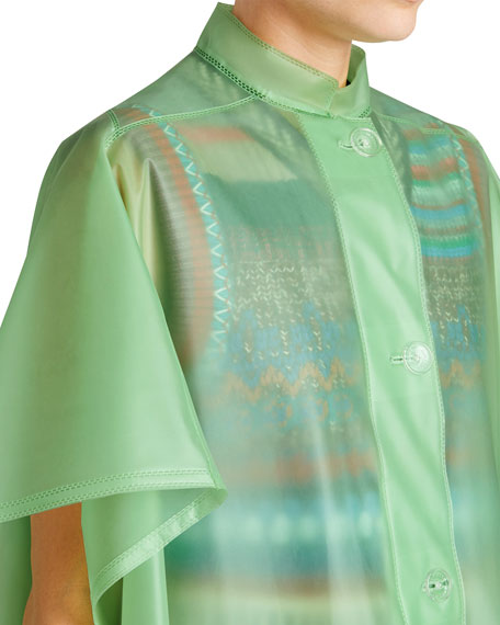 Mandarin-Collar Button-Front Poncho, Light Green