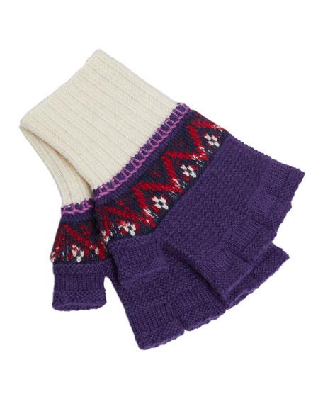Knitted Fingerless Gloves, Purple