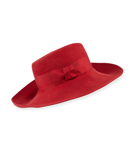 Candice Velour Fedora Hat w/ Ribbon Bow