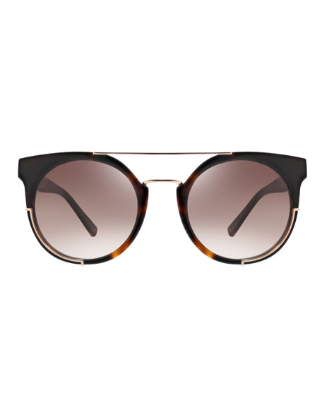 Adrianna Round Sunglasses w/ Metal Trim