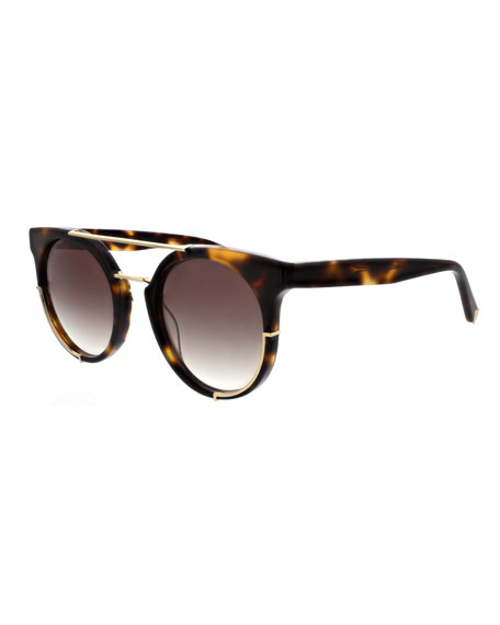 Adrianna Round Sunglasses w/ Metal Trim