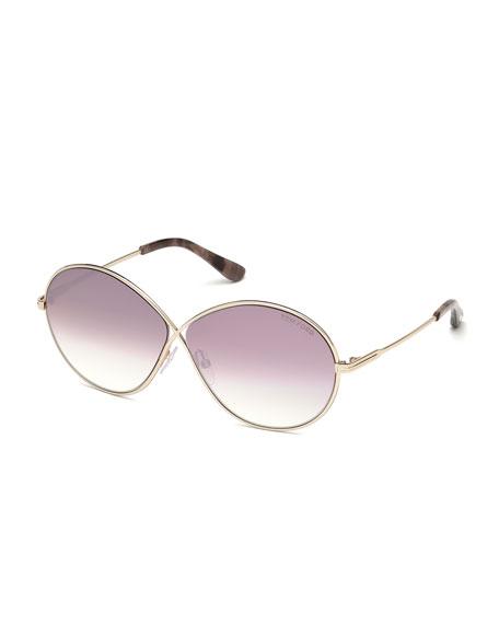 Rania Crossover-Nose Metal Sunglasses