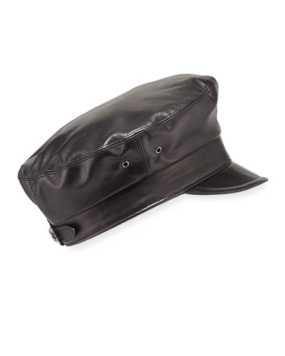 Night Porter Leather Newsboy Cap