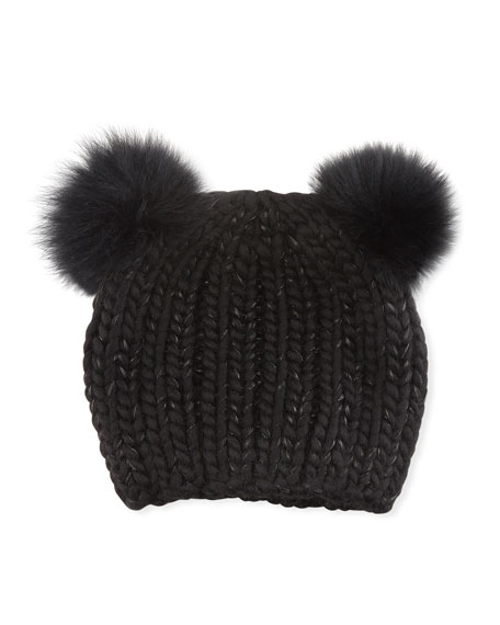 Eugenia Kim Mimi Tonal Double Fur Pompoms Beanie