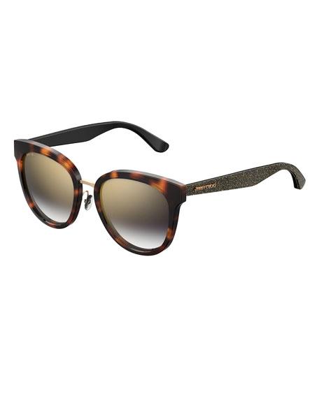 Jimmy Choo Cadefs Round Acetate Sunglasses w/ Glittered