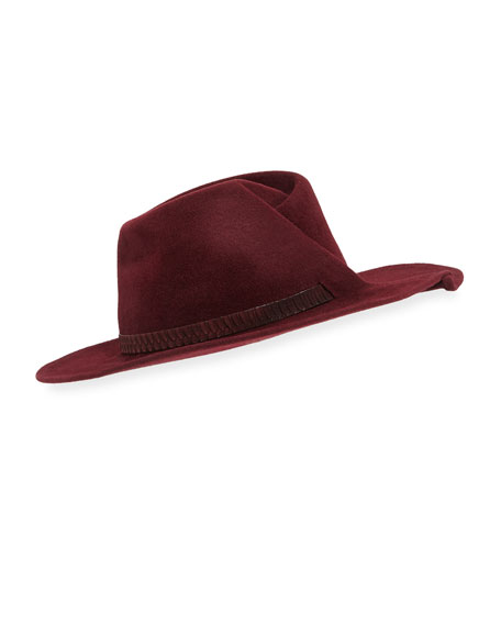 Giovanna Snakeskin-Band Fedora Hat, Wine