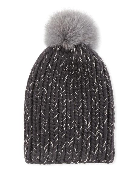Eugenia Kim Rain Fur-Pompom Beanie Hat, Gray