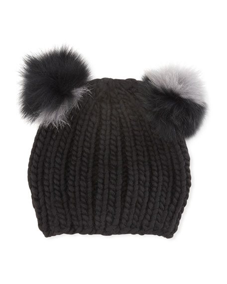 Mimi Double Fur Pompoms Beanie Hat, Black