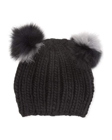 Mimi Double Fur Pompoms Beanie Hat, Black