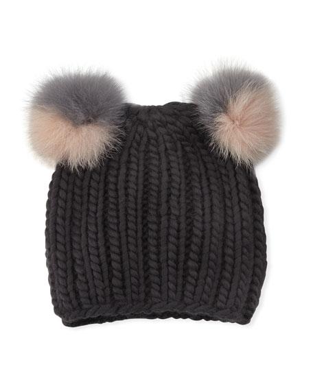 Mimi Double Fur Pompoms Beanie Hat, Gray
