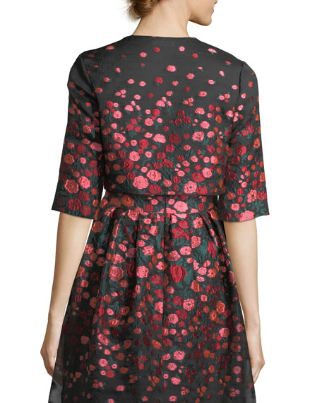 Cropped Floral Brocade Jacket