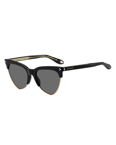 Semi-Rimless Triangle Sunglasses