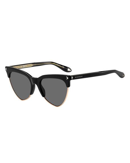 Semi-Rimless Triangle Sunglasses