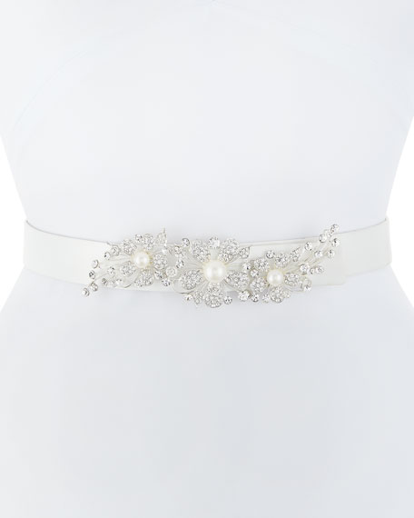 Deborah Drattell Adele Satin Belt with Crystal Floral
