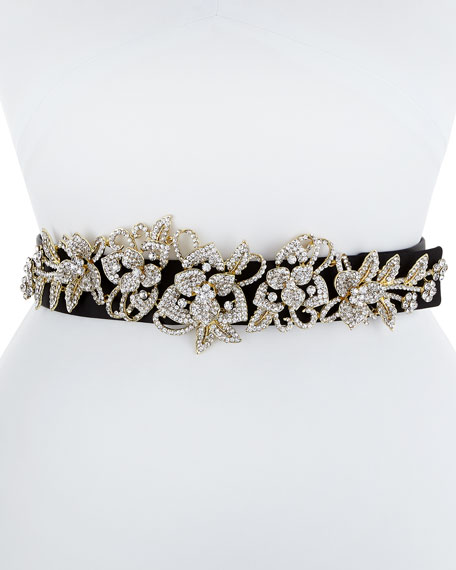 Deborah Drattell Elena Satin Belt with Crystal Floral