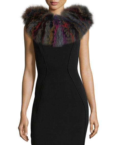 Knit Fox Fur Scarf, Multi Pattern