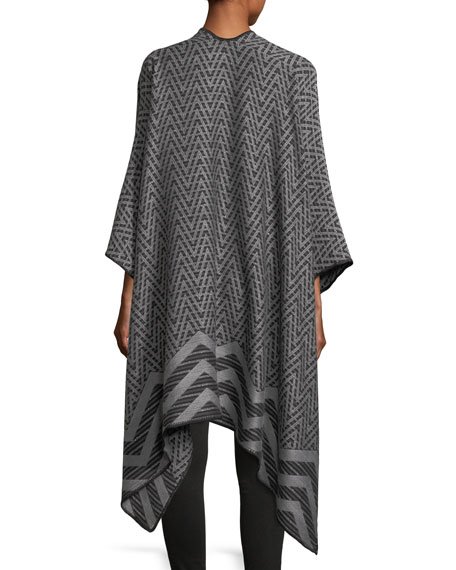 Mantel Zigzag Knit Cape, Gray
