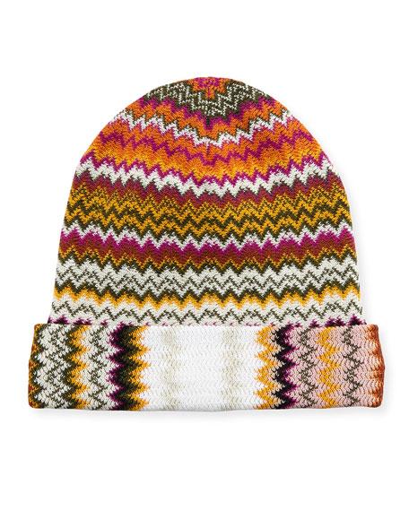 Zigzag Wool-Blend Beanie Hat