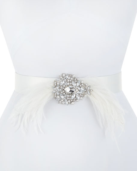 Deborah Drattell Thais Satin Belt with Feathers &