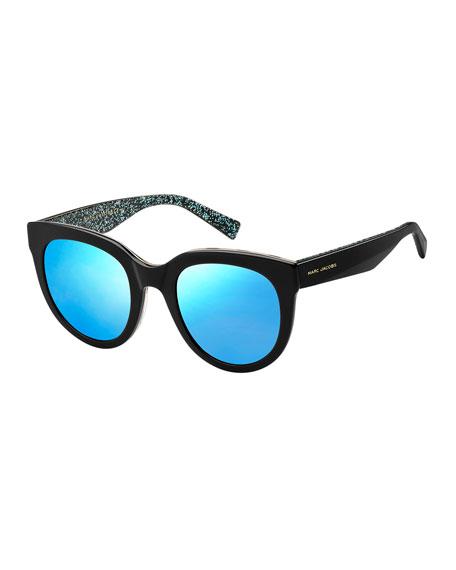 Round Mirrored Sunglasses w/ Glittered Interior