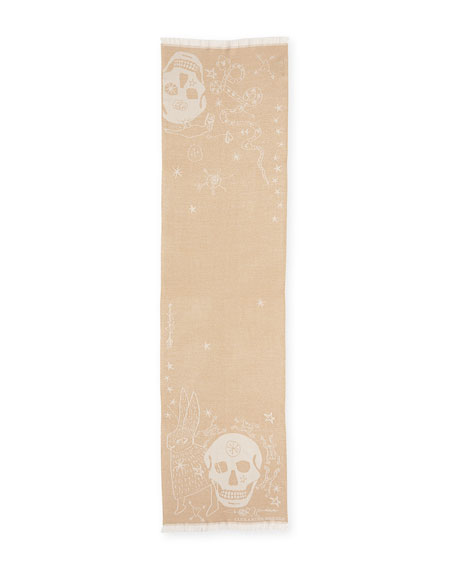 Metallic Graffiti Skulls Scarf