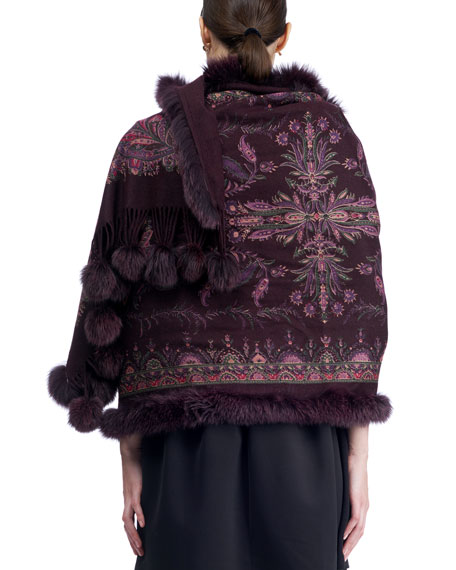 Paisley Cashmere Stole w/ Fur Trim