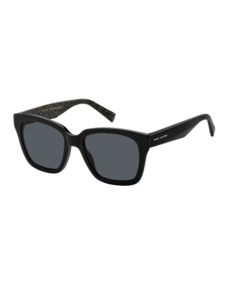 Square Mirrored Sunglasses w/ Glittered Interior