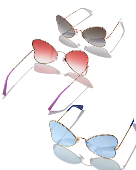 Metal Twist Heart Sunglasses