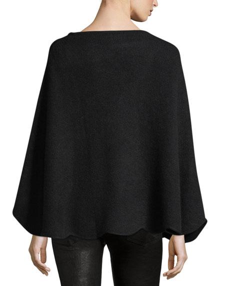 Pave Stripe Cashmere Poncho, Black