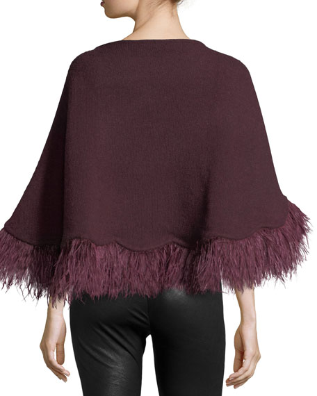 Cashmere Poncho w/ Ostrich Feather Trim, Burgundy