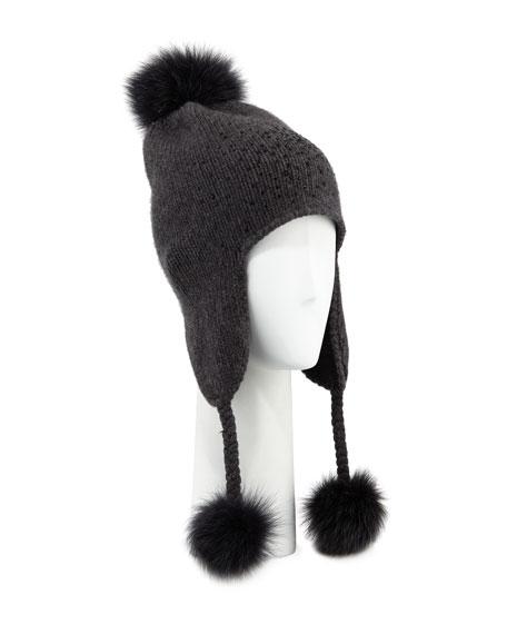 Carolyn Rowan Cashmere Crystal-Embellished Trapper Hat w/ Fur